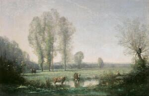 Reproduction oil paintings - Jean-Baptiste-Camille Corot - Morning mist, 1860