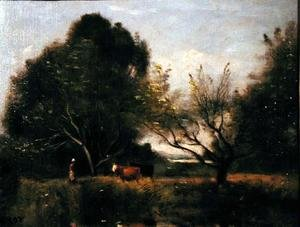 Reproduction oil paintings - Jean-Baptiste-Camille Corot - Landscape with Cattle