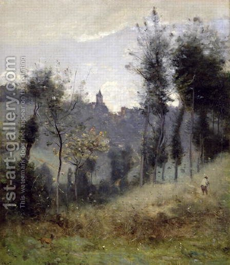 Jean-Baptiste-Camille Corot: Canteleu near Rouen - reproduction oil painting
