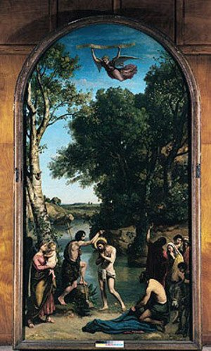 Reproduction oil paintings - Jean-Baptiste-Camille Corot - The Baptism of Christ, 1845-47