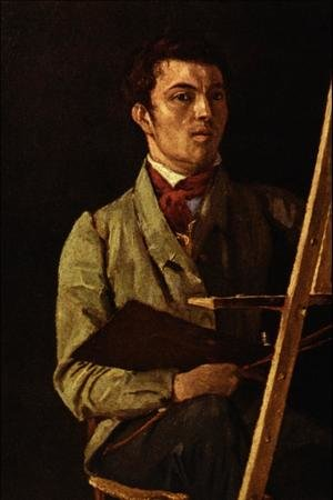 Reproduction oil paintings - Jean-Baptiste-Camille Corot - Self Portrait, Sitting next to an Easel, 1825