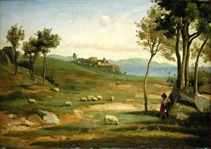 Reproduction oil paintings - Jean-Baptiste-Camille Corot - Italian Landscape, 1838