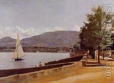 The Quai des Paquis, Geneva, c.1842 by Jean-Baptiste-Camille Corot - Reproduction Oil Painting