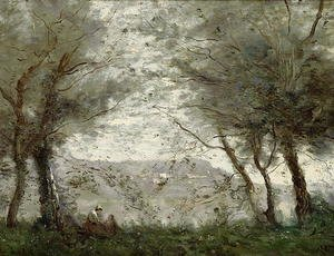 Reproduction oil paintings - Jean-Baptiste-Camille Corot - The Pond at Ville-d'Avray through the Trees, 1871