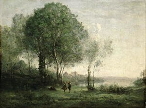 Reproduction oil paintings - Jean-Baptiste-Camille Corot - Castel Gandolfo, Dancing Tyrolean Shepherds, 1855-60