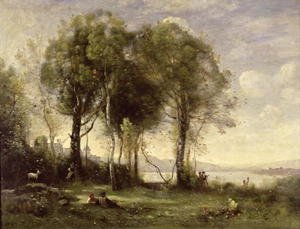 Reproduction oil paintings - Jean-Baptiste-Camille Corot - The Goatherds of Castel Gandolfo, 1866