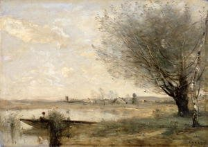 Reproduction oil paintings - Jean-Baptiste-Camille Corot - Fisherman Moored at a Bank
