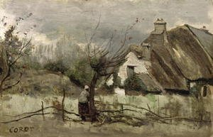 Reproduction oil paintings - Jean-Baptiste-Camille Corot - Thatched cottage in Picardie