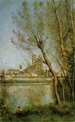 Reproduction oil paintings - Jean-Baptiste-Camille Corot - Mantes, View of the Cathedral and Town through the Trees, c.1865-70