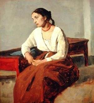 Reproduction oil paintings - Jean-Baptiste-Camille Corot - Seated Woman in Brown Skirt