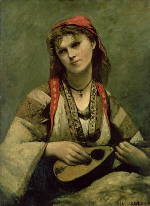 Reproduction oil paintings - Jean-Baptiste-Camille Corot - Christine Nilson (1843-1921) or The Bohemian with a Mandolin, 1874