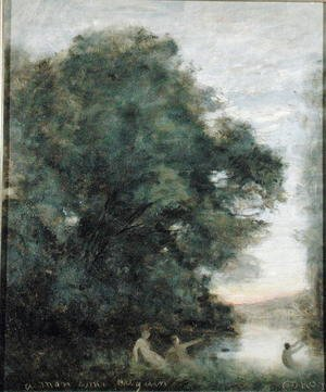 Reproduction oil paintings - Jean-Baptiste-Camille Corot - Baigneuses au Bord d'un Lac, c.1860-65