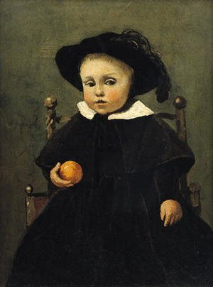 Reproduction oil paintings - Jean-Baptiste-Camille Corot - The Painter Adolphe Desbrochers (1841-1902) as a Child, Holding an Orange, 1845