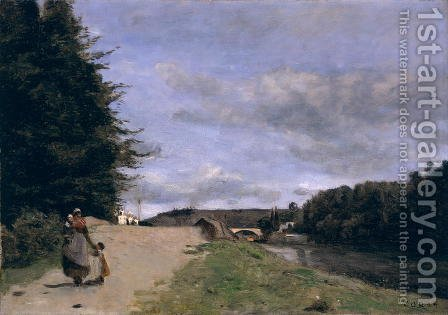Jean-Baptiste-Camille Corot: Landscape with Mother and Children - reproduction oil painting