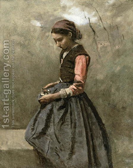 Jean-Baptiste-Camille Corot: A Pensive Girl, c.1865 - reproduction oil painting