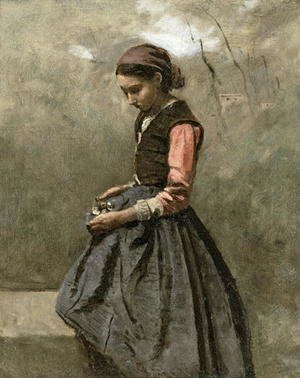 Reproduction oil paintings - Jean-Baptiste-Camille Corot - A Pensive Girl, c.1865