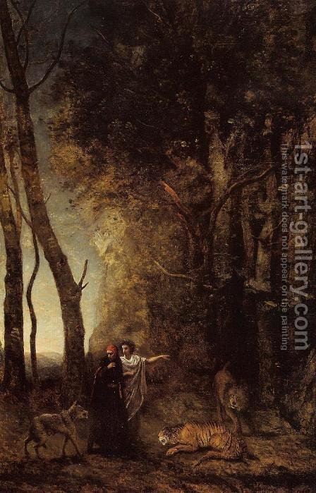 Jean-Baptiste-Camille Corot: Dante and Virgil - reproduction oil painting
