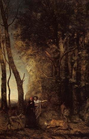 Reproduction oil paintings - Jean-Baptiste-Camille Corot - Dante and Virgil