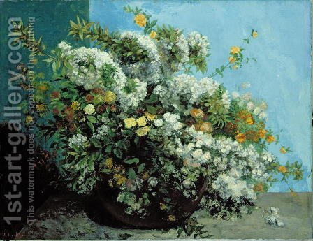 Flowering Branches and Flowers, 1855 by Gustave Courbet - Reproduction Oil Painting
