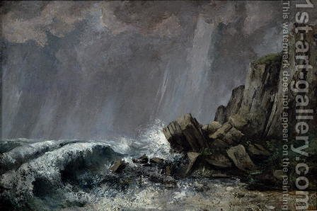 Downpour at Etretat by Gustave Courbet - Reproduction Oil Painting