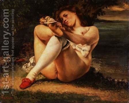 Woman in White Stockings, c.1861 by Gustave Courbet - Reproduction Oil Painting