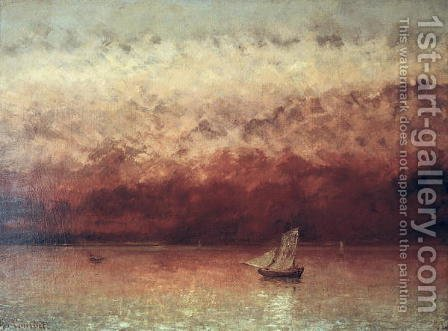 Lake Leman with Setting Sun, c.1876 by Gustave Courbet - Reproduction Oil Painting