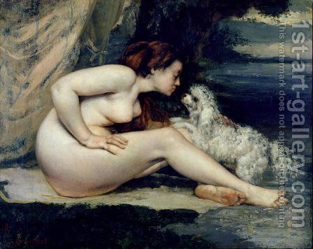Female Nude with a Dog (Portrait of Leotine Renaude) 1861-62 by Gustave Courbet - Reproduction Oil Painting