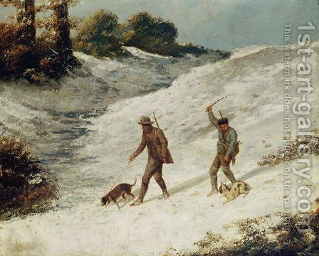 Hunters in the Snow or The Poachers by Gustave Courbet - Reproduction Oil Painting