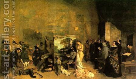 The Studio of the Painter, a Real Allegory, 1855 by Gustave Courbet - Reproduction Oil Painting