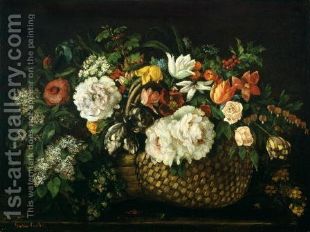 Flowers in a Basket, 1863 by Gustave Courbet - Reproduction Oil Painting