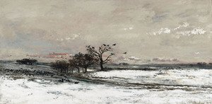 Reproduction oil paintings - Charles-Francois Daubigny - The Snow, 1873