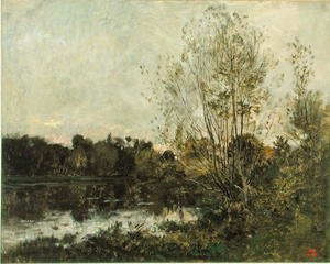 Reproduction oil paintings - Charles-Francois Daubigny - A Lake in the Woods at Dusk, c.1865