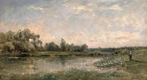 Realism painting reproductions: Along the River, 1874