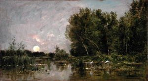 Realism painting reproductions: Moonrise, 1877