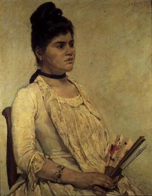 Famous paintings of Fans: Portrait of the Step Daughter, 1889