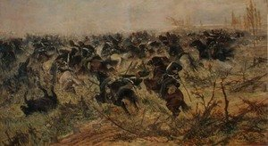 Reproduction oil paintings - Giovanni Fattori - Cavalry Charge, 1873