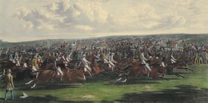 Realism painting reproductions: The Start of the Memorable Derby of 1844, engraved by Charles Hunt (1803-77)