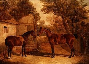 Famous paintings of Horses & Horse Riding: Bay Hunters outside a Farmhouse