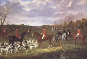 Famous paintings of Horses & Horse Riding: The Meet of the East Suffolk Hounds at Chippenham Park
