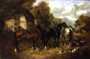 Realism painting reproductions: Farm Scene with Cart Horses