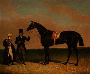 Realism painting reproductions: Mr Richard Watts' 'Rockingham' held by his trainer Forth with jockey Sam Darling, winner of the St. Leger 1833 and the Goodwood Cup, 1835