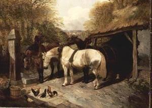 Famous paintings of Palisades: Farmyard with Horses and Chickens
