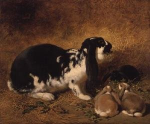 Realism painting reproductions: A Doe Rabbit and her three young, 1851