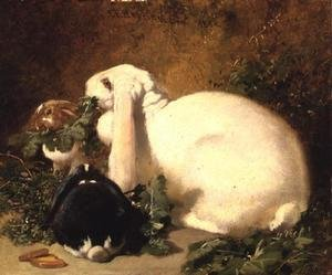 Realism painting reproductions: A Doe Rabbit and her two young, 1852