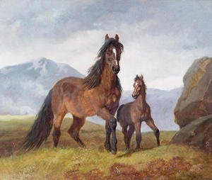 Realism painting reproductions: A Welsh Mountain Mare and Foal, 1854