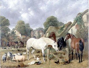 Famous paintings of Ducks: Horses in a Paddock, 1852