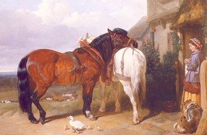 Famous paintings of Ducks: Carthorses by a Cottage Door, 1854