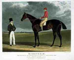 Famous paintings of Horses & Horse Riding: 'Birmingham', the Winner of the Great St. Leger Stakes at Doncaster, 1830