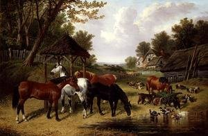 Famous paintings of Ducks: Horses by a Farmyard pond