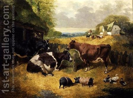 Farmyard Scene, 1853 by John Frederick Herring Snr - Reproduction Oil Painting